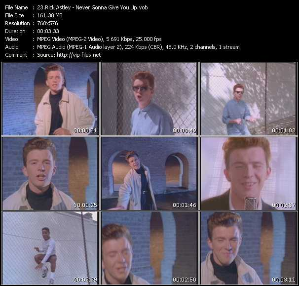 Rick Astley HQ Videoclip «Never Gonna Give You Up»