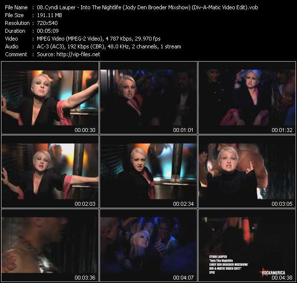 Cyndi Lauper video - Into The Nightlife (Jody Den Broeder Mixshow) (Div-A-Matic Video Edit)