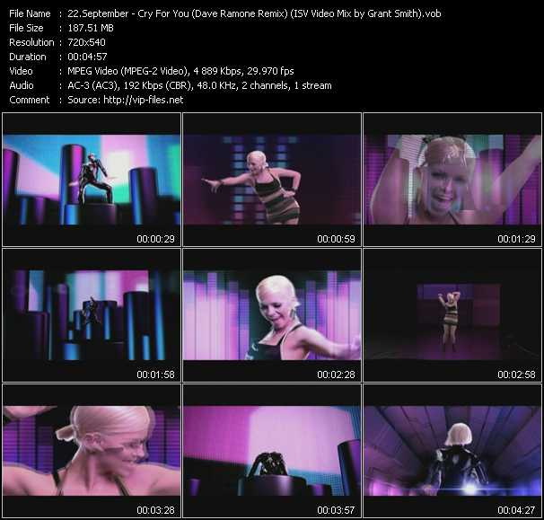 September HQ Videoclip «Cry For You (Dave Ramone Remix) (ISV Video Mix by Grant Smith)»
