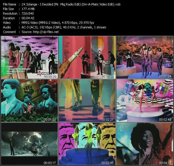 Solange HQ Videoclip «I Decided (Mr. Mig Radio Edit) (Div-A-Matic Video Edit)»