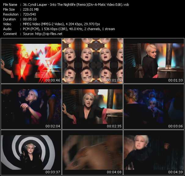 Cyndi Lauper video - Into The Nightlife (Remix) (Div-A-Matic Video Edit)