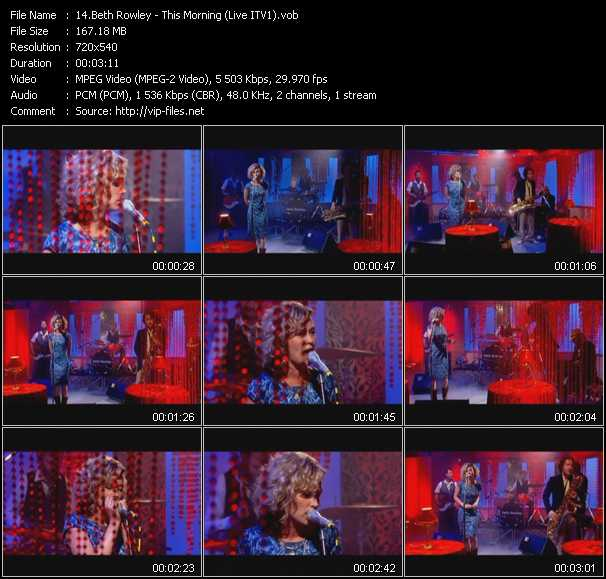 Beth Rowley HQ Videoclip «This Morning (Live ITV1)»