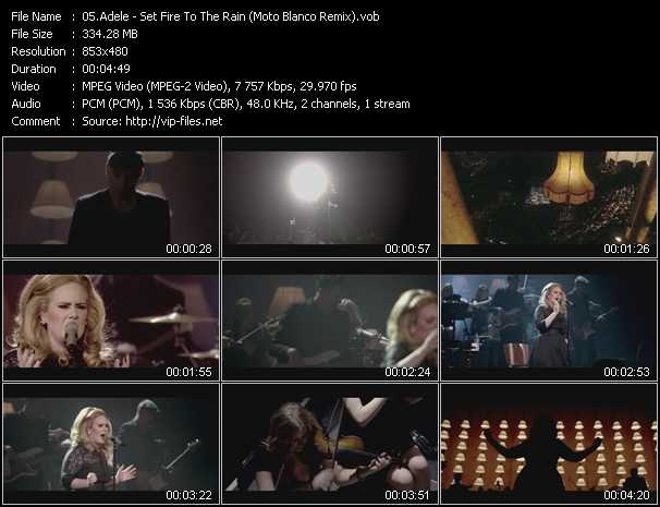 Adele video - Set Fire To The Rain (Moto Blanco Remix)