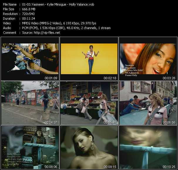 Yasmeen - Kylie Minogue - Holly Valance video - Blue Jeans (Dance Mix Edit) - Come Into My World - Naughty Girl (K-Klass Klub Edit)