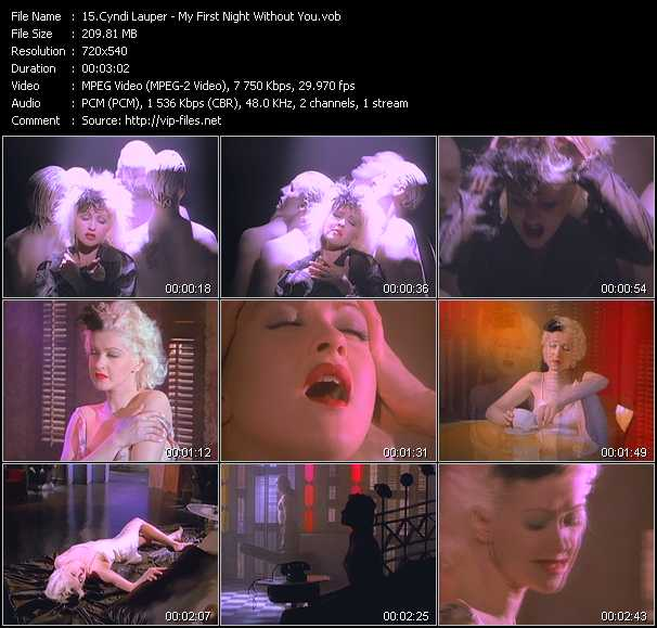 Cyndi Lauper video - My First Night Without You