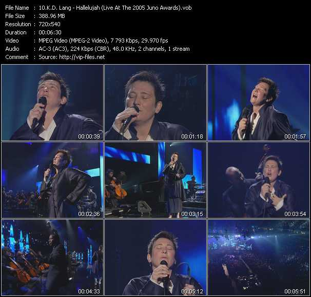 K.D. Lang video - Hallelujah (Live At The 2005 Juno Awards)