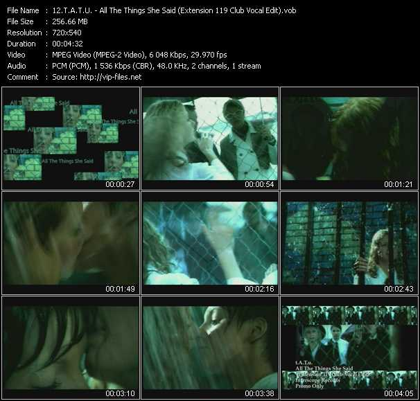 T.A.T.U. video - All The Things She Said (Extension 119 Club Vocal Edit)