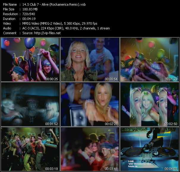 S Club 7 video - Alive (Rockamerica Remix)