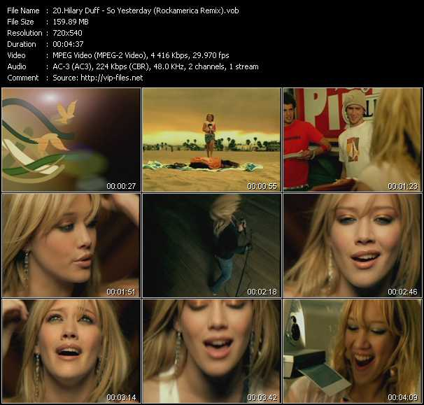 Hilary Duff video - So Yesterday (Rockamerica Remix)