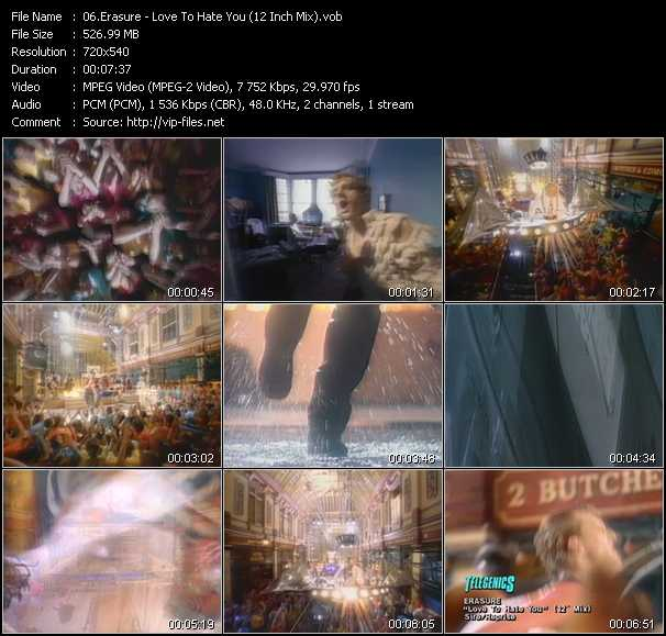 Erasure video - Love To Hate You (12 Inch Mix)