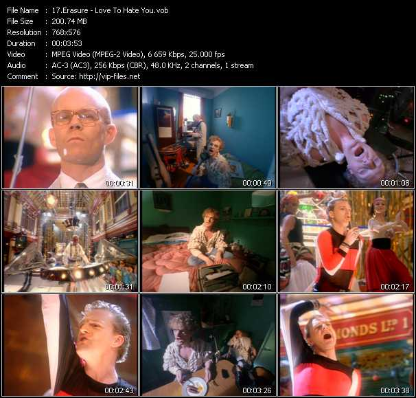 Erasure video - Love To Hate You