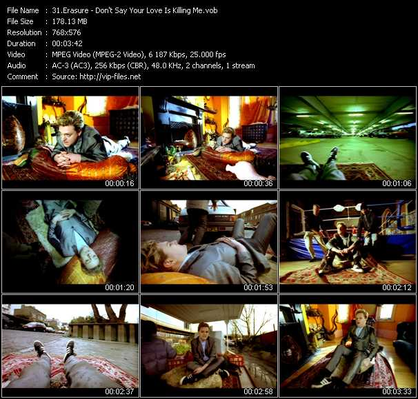 Erasure video - Don't Say Your Love Is Killing Me