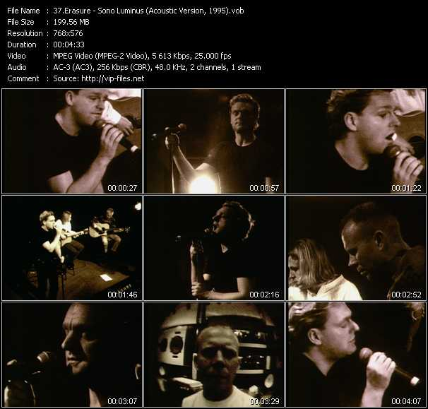 Erasure video - Sono Luminus (Acoustic Version, 1995)