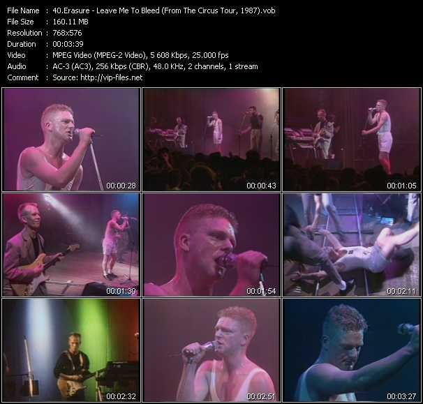 Erasure video - Leave Me To Bleed (From The Circus Tour, 1987)