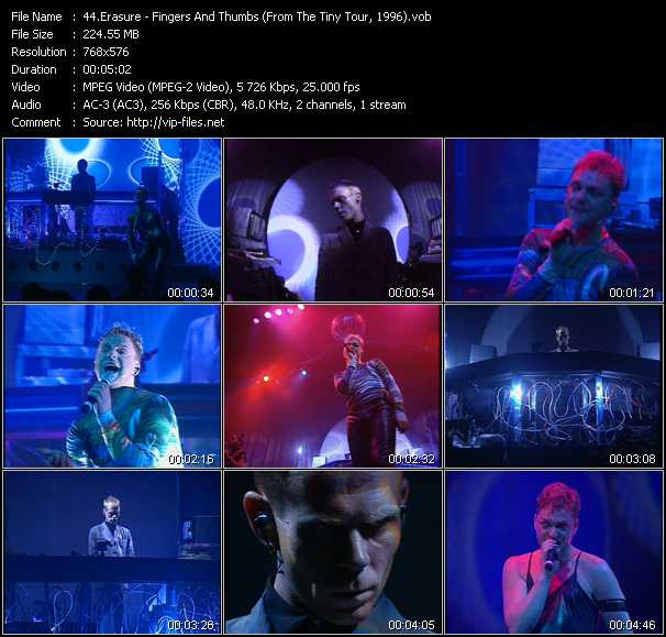Erasure video - Fingers And Thumbs (From The Tiny Tour, 1996)