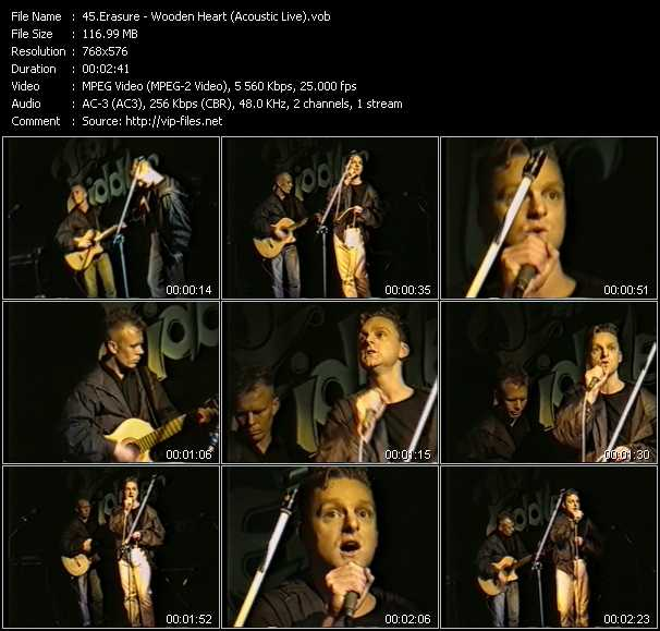 Erasure video - Wooden Heart (Acoustic Live)