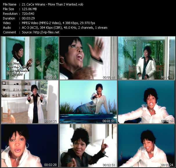 CeCe Winans video - More Than I Wanted