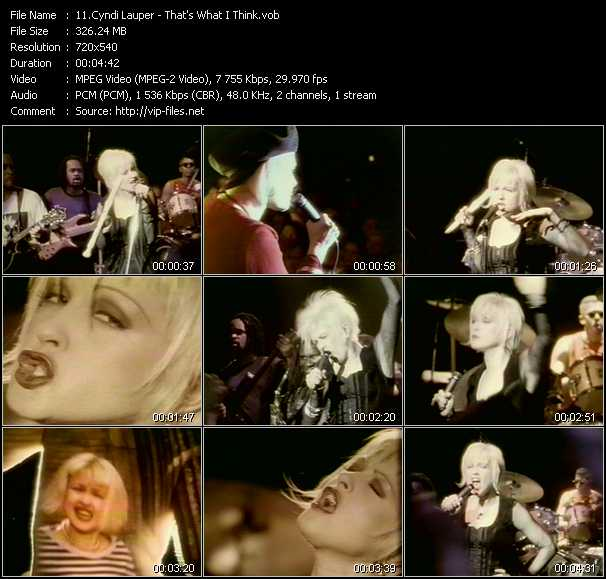 Cyndi Lauper video - That's What I Think