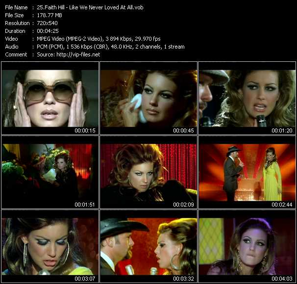 Faith Hill video - Like We Never Loved At All