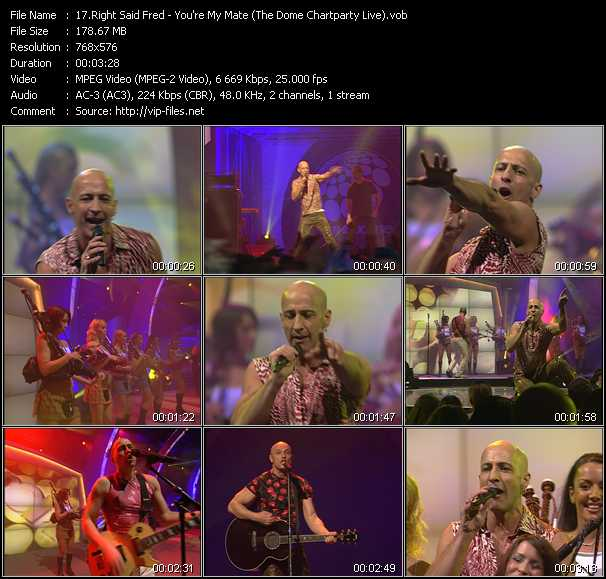 Right Said Fred video - You're My Mate (The Dome Chartparty Live)