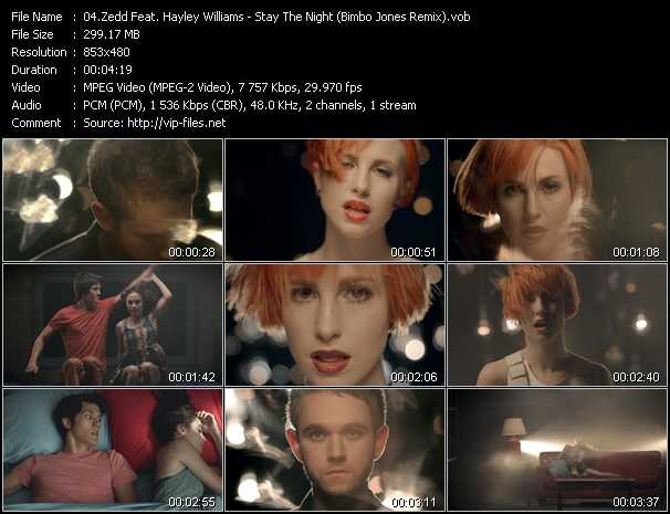 Zedd Feat. Hayley Williams video - Stay The Night (Bimbo Jones Remix)