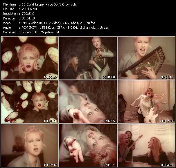 Cyndi Lauper video - You Don't Know