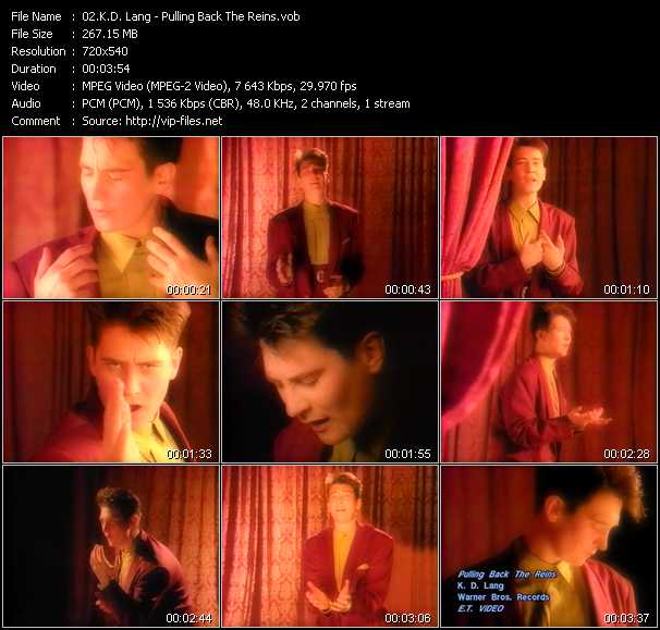 K.D. Lang video - Pulling Back The Reins