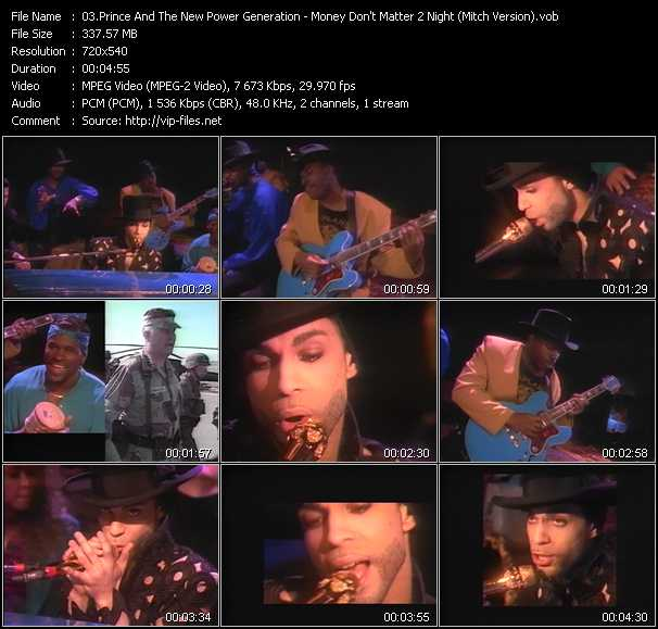 Prince And The New Power Generation video - Money Don't Matter 2 Night (Mitch Version)