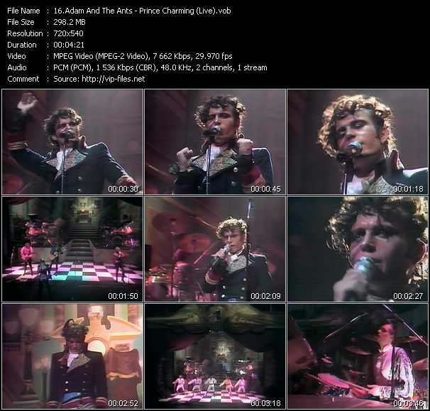 Adam And The Ants video - Prince Charming (Live)