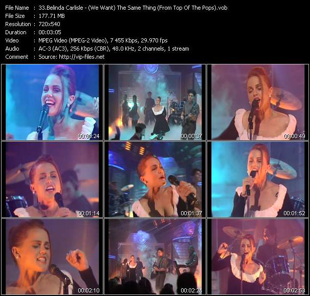 Belinda Carlisle HQ Videoclip «(We Want) The Same Thing (From Top Of The Pops)»