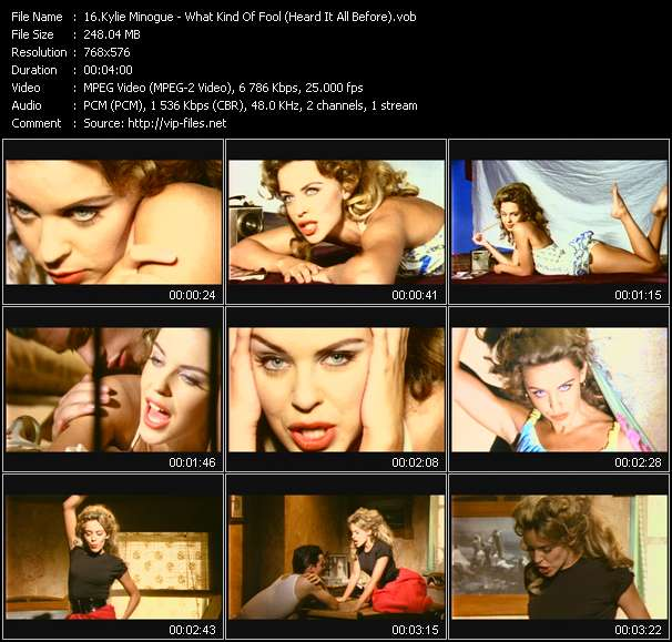 Kylie Minogue video - What Kind Of Fool (Heard It All Before)