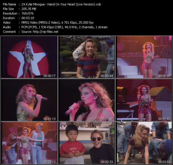 Kylie Minogue video - Hand On Your Heart (Live Version)