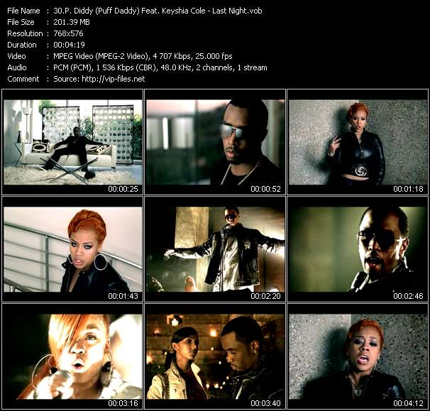 P. Diddy (Puff Daddy) Feat. Keyshia Cole video - Last Night