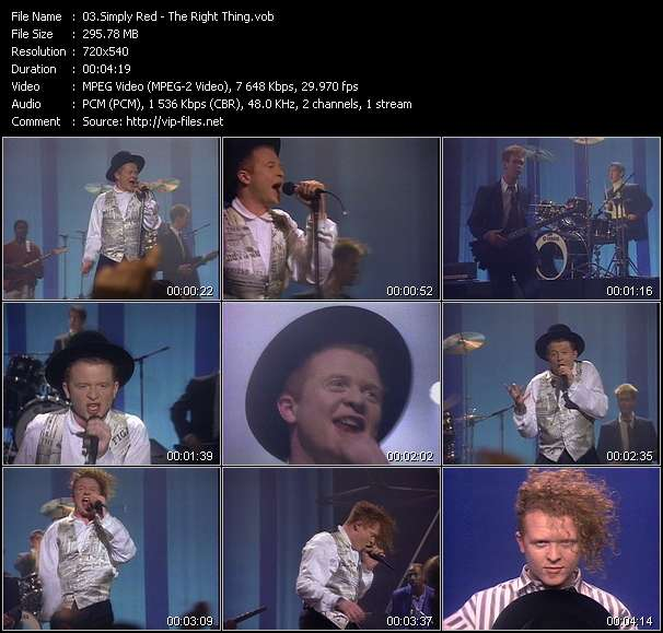 Simply Red HQ Videoclip «The Right Thing»