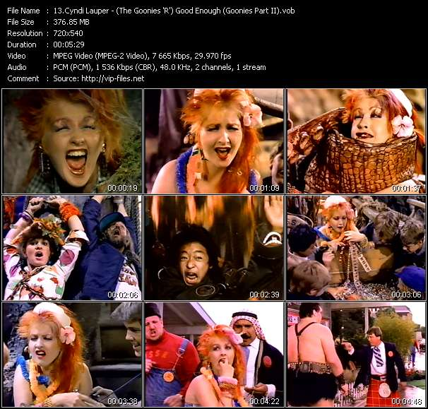 Cyndi Lauper video - (The Goonies 'R') Good Enough (Goonies Part II)