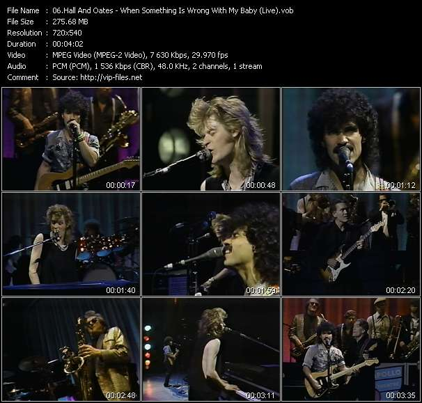 Hall And Oates (Daryl Hall And John Oates) video - When Something Is Wrong With My Baby (Live)