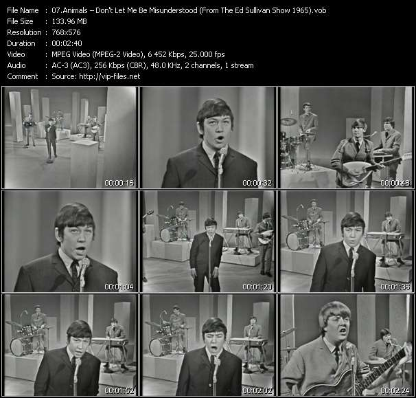 Image of: 1964 Animals Video Dont Let Me Be Misunderstood from The Ed Sullivan Show Mvfilescom Animals dont Let Me Be Misunderstood from The Ed Sullivan Show