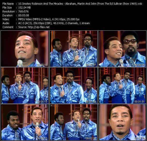 Smokey Robinson And The Miracles HQ Videoclip «Abraham, Martin And John (From The Ed Sullivan Show 1969)»