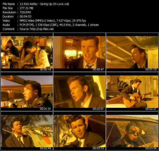Rick Astley video - Giving Up On Love