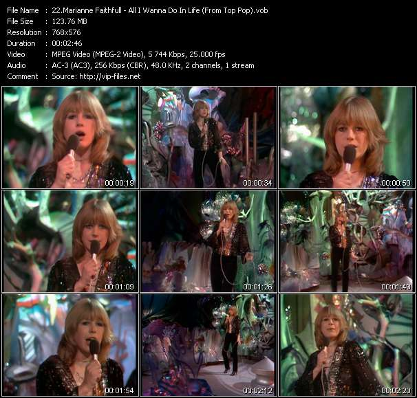 Marianne Faithfull HQ Videoclip «All I Wanna Do In Life (From Top Pop)»