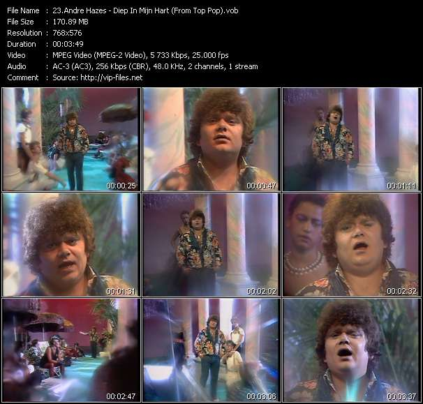 Andre Hazes video - Diep In Mijn Hart (From Top Pop)