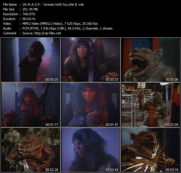 W.A.S.P. video - Scream Until You Like It