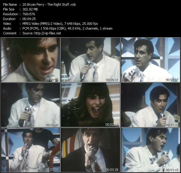 Bryan Ferry video - The Right Stuff