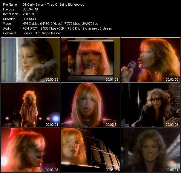 Carly Simon HQ Videoclip «Tired Of Being Blonde»