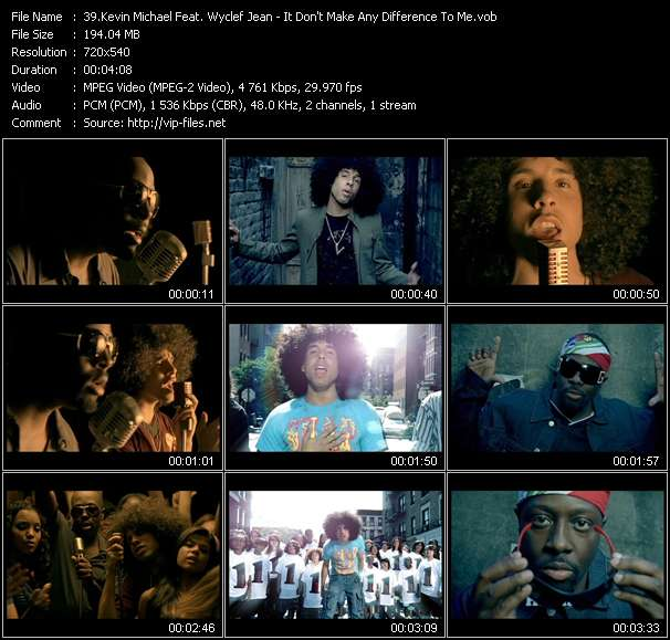 Kevin Michael Feat. Wyclef Jean video - It Don't Make Any Difference To Me