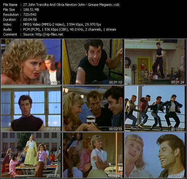 John Travolta And Olivia Newton-John HQ Videoclip «Grease Megamix»