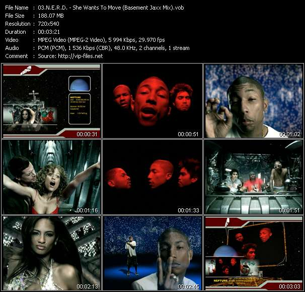 N.E.R.D. video - She Wants To Move (Basement Jaxx Mix)