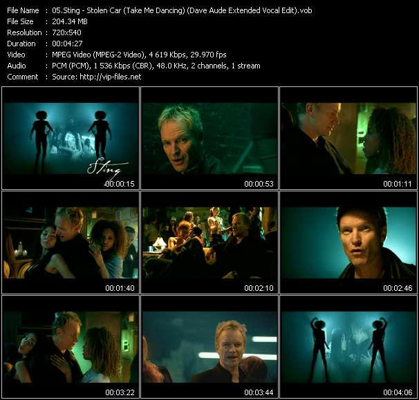 Sting video - Stolen Car (Take Me Dancing) (Dave Aude Extended Vocal Edit)