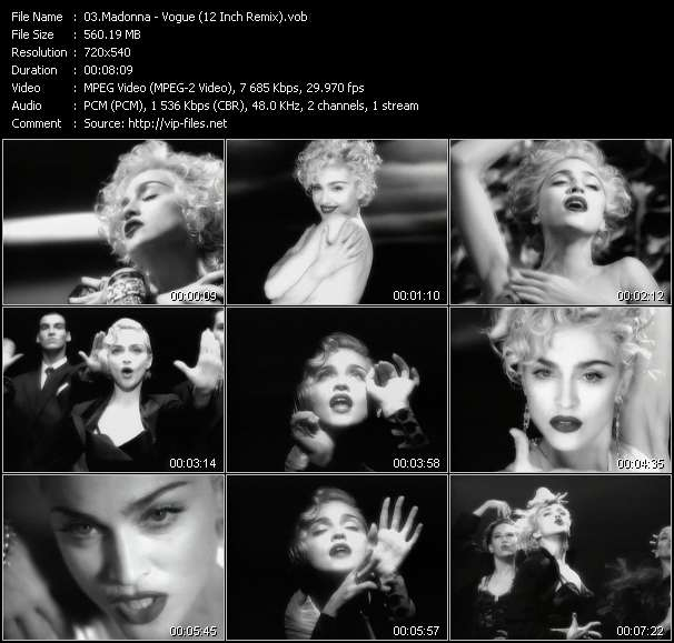 Madonna video - Vogue (12 Inch Remix)
