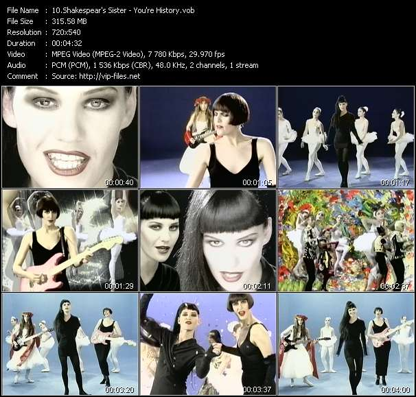 Shakespear's Sister HQ Videoclip «You're History»